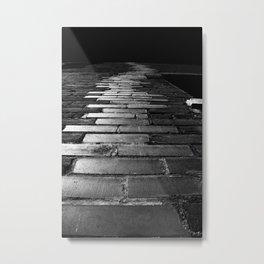 Brick Path in Black and White Metal Print