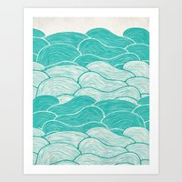 jazzberry Art Prints featuring The Calm and Stormy Seas by Pom Graphic Design