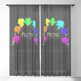 Pride hearts with stars Sheer Curtain