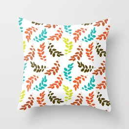 Colorful Leaves, Leaf Pattern - Blue Orange Green Throw Pillow