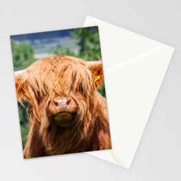 Cute Long-haired cow Stationery Cards