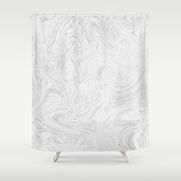Elegant white silver glitter abstract marble Shower Curtain