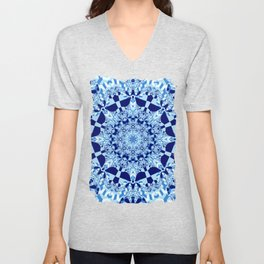 Blue toned cubism in a kaleidoscope Unisex V-Neck