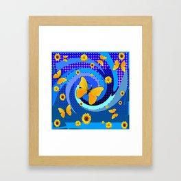 BLUE MATING SEASON YELLOW BUTTERFLIES Framed Art Print