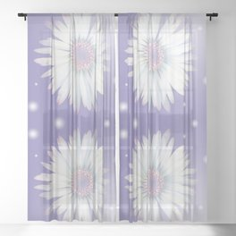 Romantic daisy on lavender Sheer Curtain