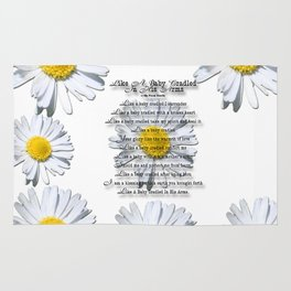 Daisy Flower with Christian Faith Base Poem Rug