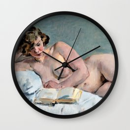 Reclining Reading Nude - Digital Remastered Edition Wall Clock