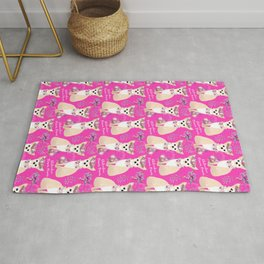 Cute Chihuahuas and Flowers Pink Rug