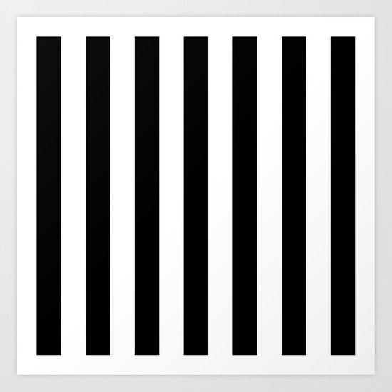 Vertical Stripes (Black/White) Art Print