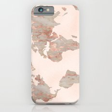 Rosegold Marble Map of the World Slim Case iPhone 6s