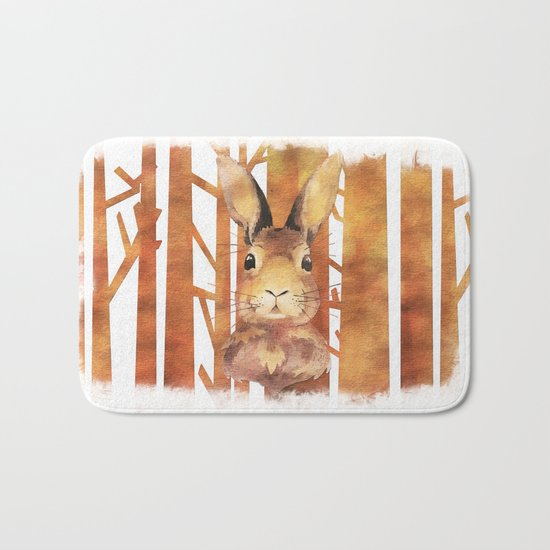 Fast Rabbit in the forest- abstract Hare watercolor Illustration Bath Mat
