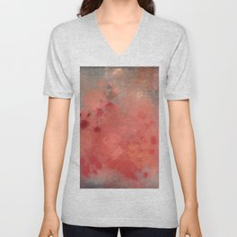 Coral peach grey letter batic look Unisex V-Neck