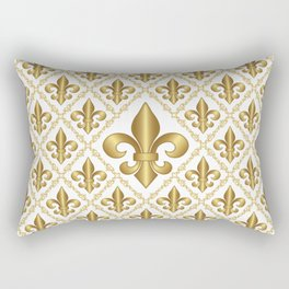 Gold Fleur-de-Lis Pattern Rectangular Pillow