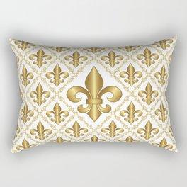 Gold Fleur-de-Lis Pattern Rectangular Pillow