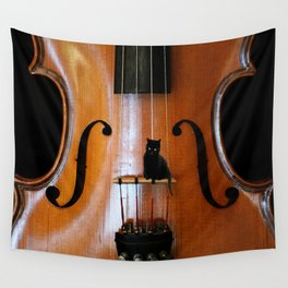 Black Cat And Violin #decor #society6 Wall Tapestry