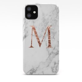 Monogram rose gold marble M iPhone Case