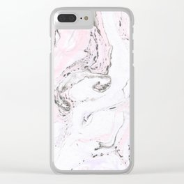 White& Pink Marble Swirls Clear iPhone Case