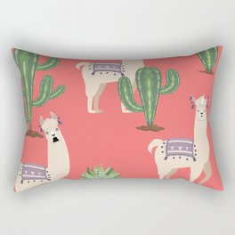 Llama with Cacti Rectangular Pillow