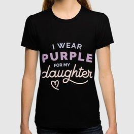 I Wear Purple for my Daughter Cystic Fibrosis CF Awareness  design T-shirt