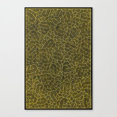 Black and faux gold swirls doodles Canvas Print
