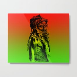 Old rastafarian man smoking against red, yellow, green background Metal Print