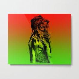Old rastafarian man smoking against red, yellow, green background Metal Print