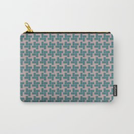 Teal Mauve Pinwheel Pattern Carry-All Pouch
