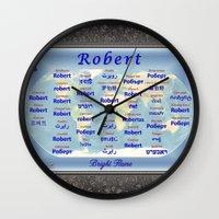robert farkas Wall Clocks featuring Robert by JMcCombie