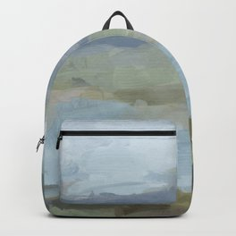 Diptych II - Sky Gray Blue Sage Green Abstract Wall Art, Painting Art, Lake Nature Print Portrait Backpack
