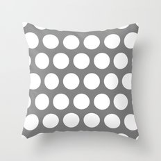 Big polka dots on gray Throw Pillow