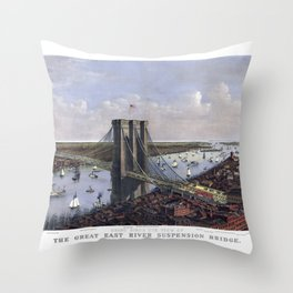 NEW YORK  East River BRIDGE city old map Father Day art print poster Throw Pillow