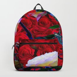 YELLOW ROSE  ON RED ROSES GARDEN ABSTRACT Backpack