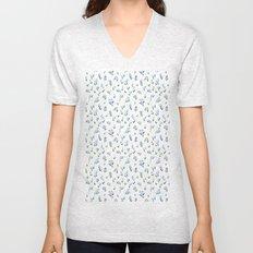 blue lily subtle pattern Unisex V-Neck