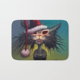 Zombie Cat Christmas Bath Mat