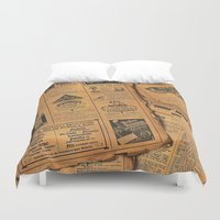 newspaper Duvet Covers featuring old newspaper by Marianna Burk