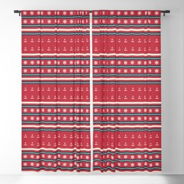 Ships Ahoy Red/Blue Stripe Blackout Curtain