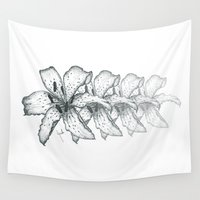 lily Wall Tapestries featuring lily  by Huda Mulla