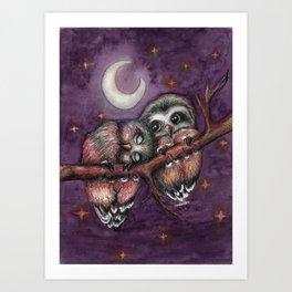 Owls in love II Art Print
