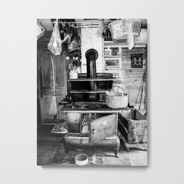 Antique Farmhouse Kitchen Scene Metal Print