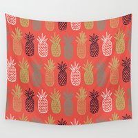 pineapples Wall Tapestries featuring Pineapples by Annie Smith Designs