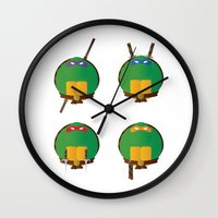 ninja turtles Wall Clocks featuring Ninja Turtles by East Atlantic Design
