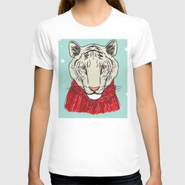 Merry Christmas New Year's card design Tiger head in a red knitted sweater and a scarf. Sketch T-shirt