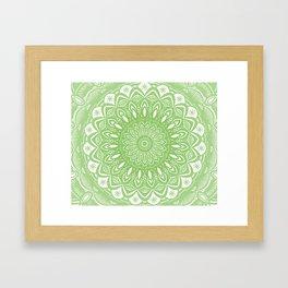 Light Lime Green Mandala Simple Minimal Minimalistic Framed Art Print