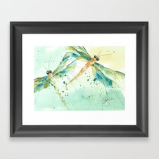 Dragon fly love Framed Art Print