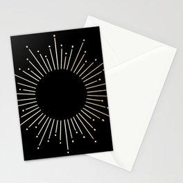 Sunburst Gold Copper Bronze on Black Stationery Cards