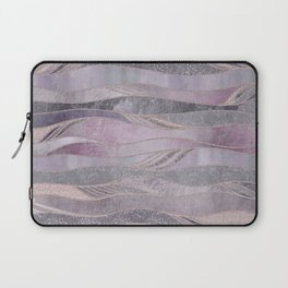 Glamorous Rose Gold Purple Wavy Glitter Lines Laptop Sleeve