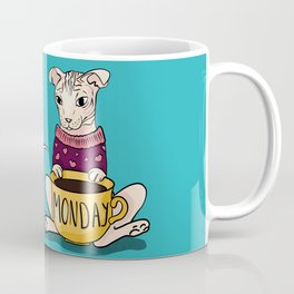 Grumpy Sphynx Cat Drinking Monday Coffee - Hairless Kitty Wearing a Sweater - Fold Ears - Teal Background Coffee Mug