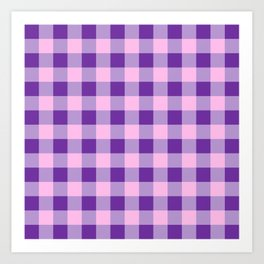 Purple and Pink Check Art Print