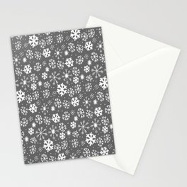 Snowflake Snowstorm With Silver Grey Gray Background Stationery Cards