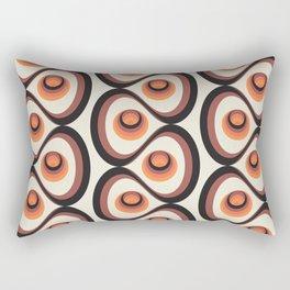 Orange, Brown, and Ivory Retro 1960s Circular Pattern Rectangular Pillow